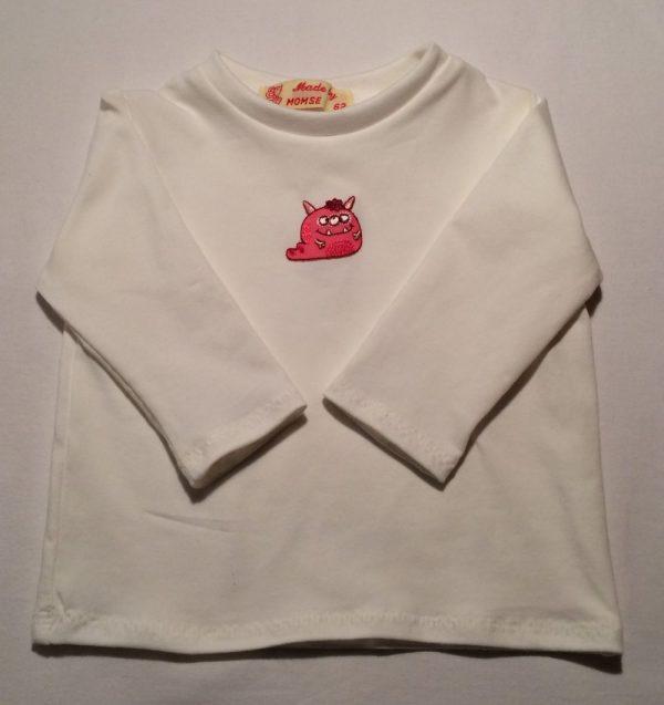 Babybluse-off-white-med-sjov-djævledyr-oeko-tex-bomuld-elastan-15004