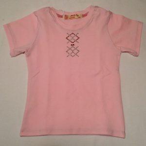 Pigebluse-med-glimmertryk-pink-korte-aermer-oekotex-bomuld-elastan-14943