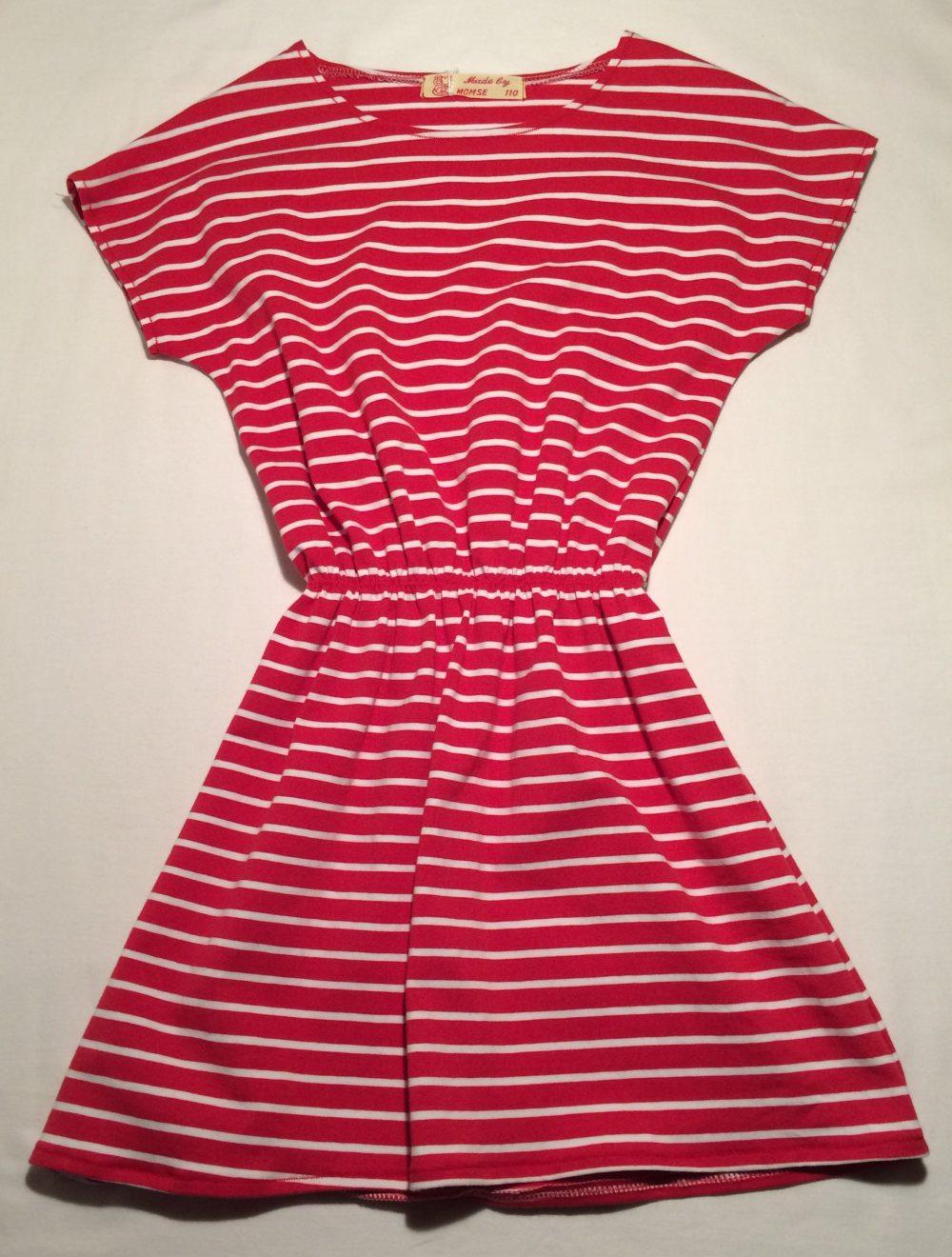 bf3c45f399b0 Rød hvidstribet jerseykjole - økologisk bomuld elastan- 14959 - Made ...