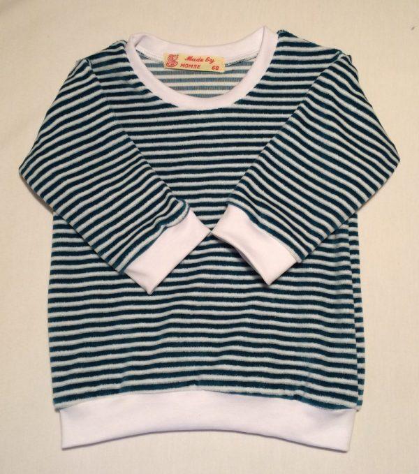 Sweatshirt-oekologisk-velour-petrol-hvidstrib-bomuld-polyester-15005