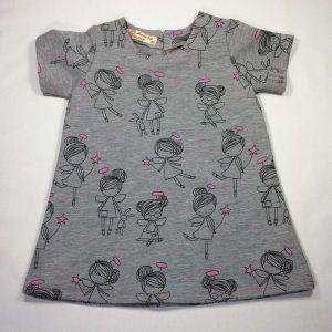 Sweat kjole med englepiger - grå melange - blød luv på bagside - bomuld-pes