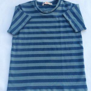 T-shirt - støvblåstrib - økologisk bomuld+elastan