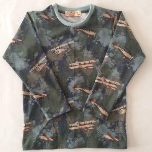 T-shirt-army-goeøn-med flymotiver-oekotex-bomuld-elastan