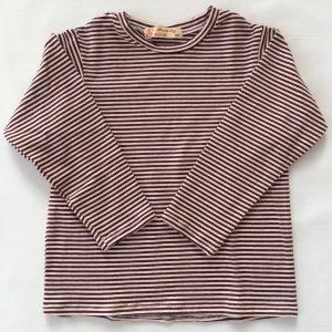 T-shirt-med-lange-aermer-aubershine-rosa-stribet-oekotex-bomuld-elastan