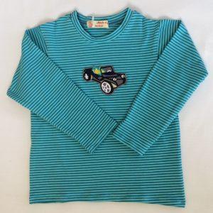 T-shirt-med-lange-aermere-lysmoerk-stribet-petrol-med-bilapplikation-oeko-tex-bomuld-elastan