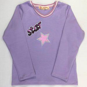 Bluse-jersey-lavendelfarvet-med-star-og-stjerne-bomuld-elastan