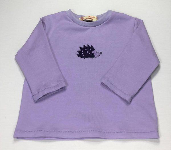 Langaermet-t-shirt-med-pindsvin-lys-lilla-oeko-tex-bomuld-elastan
