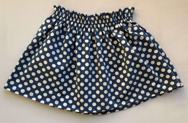 Nederdel -mellemblaa-med-hvide-prikker-oeko-tex-bomuld-elastan