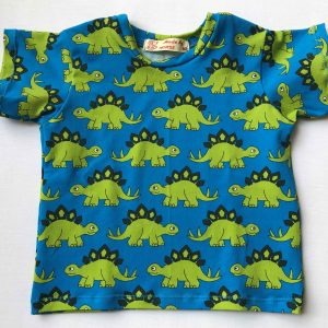 T-shirt -turkis-med-lysegroenne-dinos-bomuld-elastan