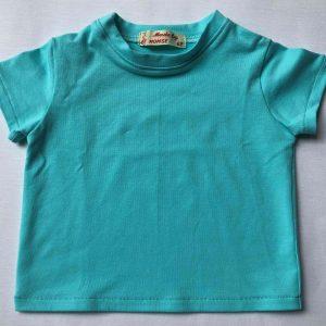 Bluse-med-korte-aermer-lys-turkis-oeko-tex-bomuld-elastan
