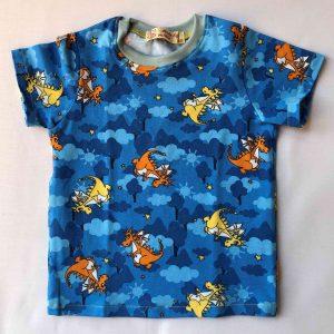 Blaa-t-shirt-med-drager-korte-aermer-oeko-tex-bomuld-elastan