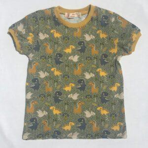 Khaki-t-shirt-med-dinosaurer-oeko-tex-bomuld-elastan-95-5