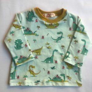 T-shirt-med-lange-aermer-mintgroent-med-dinosaure-bomuld-elastan